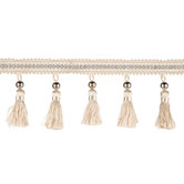 Ivory & Silver Bead Tassel Home Decor Trim